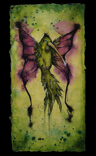 A painting of a green hummingbird with purple butterfly wings, against a green background.