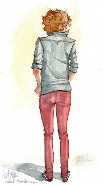A watercolour drawing of a person with curly light brown hair, wearing a blue jacket and pink pants. They are viewed from behind.