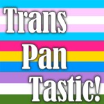 The words 'Trans' 'Pan' 'Tastic!' on top of, respectively, the lightblue-pink-white-pink-whiteblue transgender pride flag, the magenta-yellow-blue pansexual pride flag and the purple-white-green genderqueer pride flag.