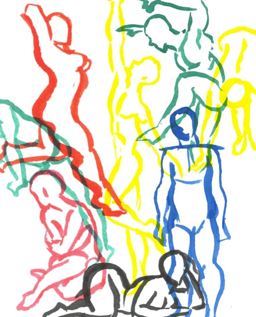 Line drawings in many colors of many body types.