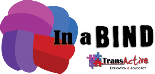 "Banner for ""In a Bind"", the logo looks like a ball of blue, red, purple, and magenta wool. Part of TransActive Education & Advocacy; their logo consists of four puzzle pieces in the same four colours as the wool."