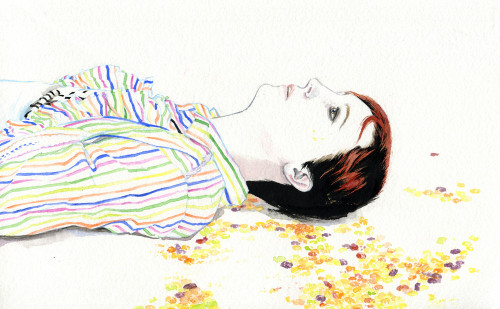 A drawing of head and torso of a person lying on the ground, eyes blankly staring up. They have short dark hair with some red in it, and they wear a white, long-sleeved collared shirt with stripes in blue, pink, green, yellow, orange. There are brightly-coloured (mostly yellow, some orange, a bit purple) dots around the face - maybe sweets, or stones, or marbles?