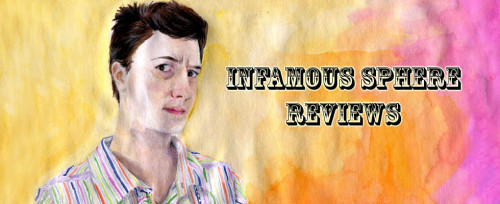 "Aquarel portrait of a person with short dark hair, slightly warily looking at the viewer. They are wearing a collared shirt which has thin stripes of white alternating with green, yellow, orange, blue, magenta. The background is mostly yellow with some orange and a bit of magenta. Text in ""Wild West"" font says ""Infamous Sphere Reviews""."