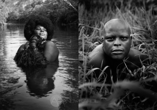 "Two portraits from ""Eden: Expressions in Gender"" photographed by Andy Karol, of two individuals, both POC, who identify on the gender spectrum as variant or fluid. Kokumo, on the left, is standing in a river, with the afro cut looking like a halo, closely holding water plants almost looking like a net, and eyes closed head towards the sky. Kia, on the right, is bald-shaven, with a simple circular ring in each ear, and is almost hidden between grass, with just the head emerging, staring into the camera with a piercing, powerful look."