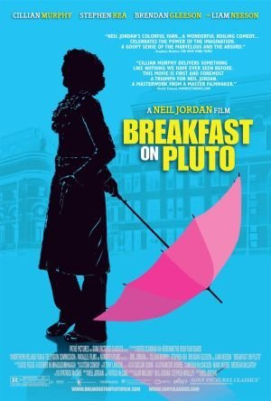 "Poster for the film ""Breakfast on Pluto"" by Neil Jordan, starring Cillian Murphy. A black shadow outline of the protagonist, holding an unfolded pink umbrella."