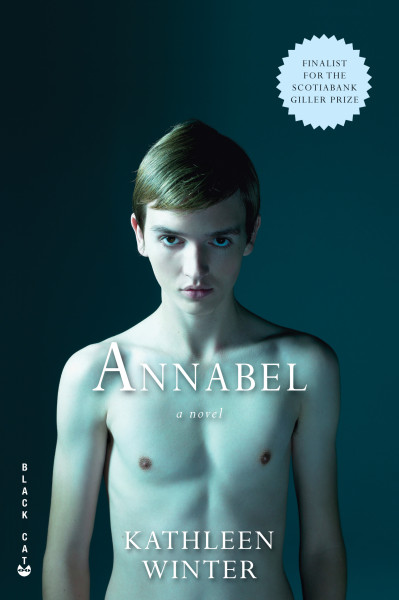 "Cover of ""Annabel"" by Kathleen Winter, showing the naked torso of an androgynous/boyish young teenager, looking straight into the viewer's eyes."