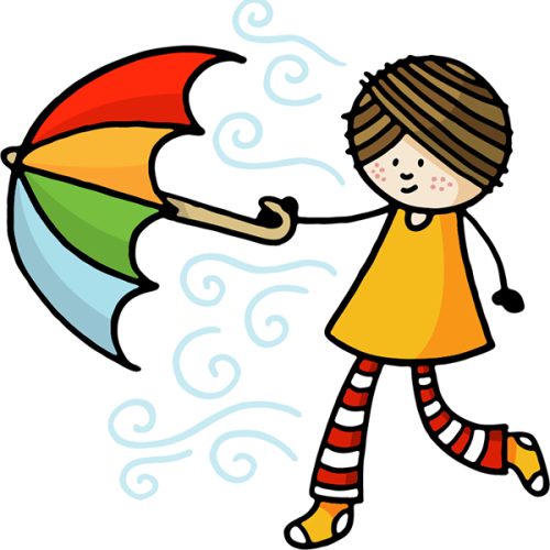 A person in orange socks, white-red striped trousers, an orange shirt and brown hair holds a rainbow-colored umbrella and is swept by the wind.
